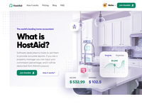 HostAid – Manage rental properties typography landing page app design ux uidesign ui property illustration neumorphism light real estate design charts cards card hero section branding app animation