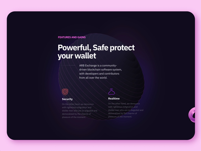 ABR Landing page — Sphere minimal branding animation vr ar 3d cube 3d animation slider carousel design sketch ux ui react dark sphere typography uidesign