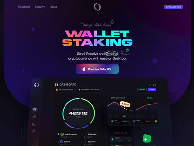 Landing Page — Staking Wallet colorful app design animation icon illustration clean crypto dark ux ui interface financial finance wallet dashboard app design
