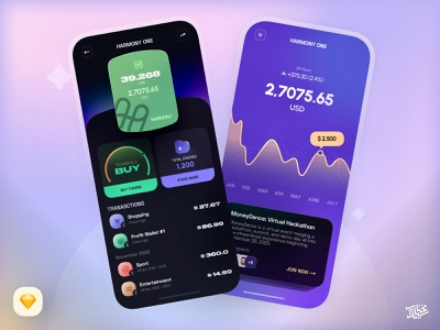 Freebie - Crypto App logo figma ux ui uikit icon free elements components freebie download chart mobile app finance design branding illustration vetcor sketch