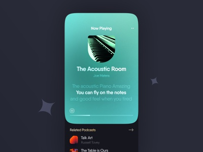 📢 Podcasty – Player after effect ios music player music player podcast 3d art colorful dark branding illustration minimal 3d animation typography ui ux design app
