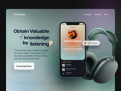 📢 Podcasty – Landing page figma wireframe effect hero section landing page podcast music iphone mockup app minimal icon vector illustration branding typography animation design ux ui