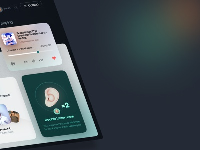 📢 Podcasty – Dashboard figma 3d music panel dashboard activity goal podcast book animation after effect colorful branding dark clean minimal app design ux ui