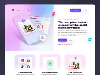 Landing page - Social Media website social media gradient typography ecommerce homepage landing page engagement after effect animation 3d mockup facebook twitter instagram social figma web design website ux ui