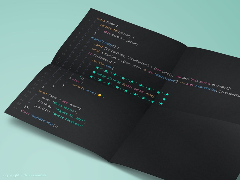 JavaScript Party 🎂 panda mockup postal card es6 javascript paper