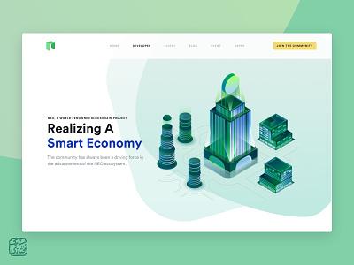 🏦 Smart Economy (WIP) clean typography colorful vector hero header web webdesign ux uidesign ui presentation minimal website fold design