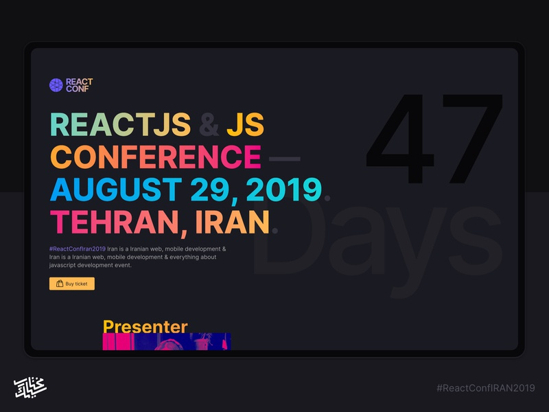 React Conf Iran 2019 webdesign design clean colorful dark countdown timer landing page reactconf react typogaphy conference ui persian minimal