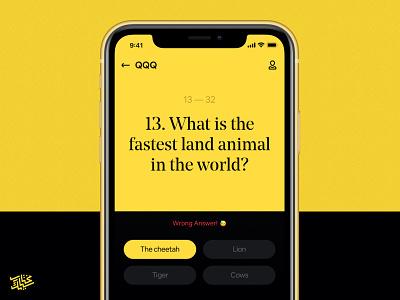 QQQ — Quiz uidesign card presentation mobile design mobile quiz yellow question ux clean app minimal ui typogaphy dark colorful design