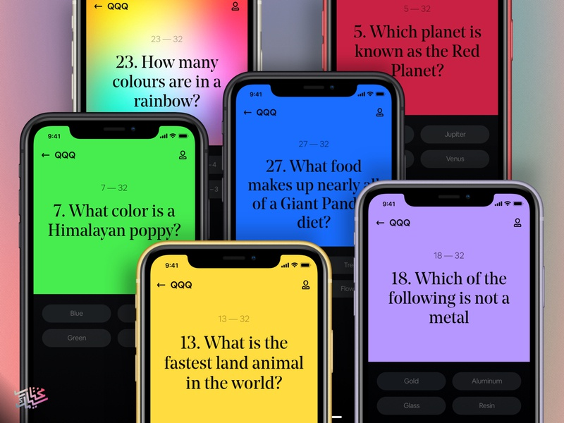 QQQ — Quiz Colorful 🌈 ui design question quiz app quiz iphone mockup uiux clean design fold dark typography colorful clean ux design app ui minimal