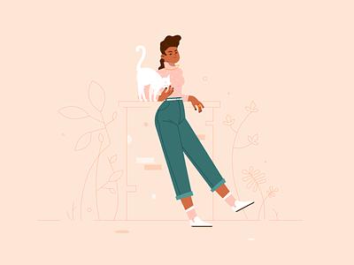 Girl No. 1 spring outdoors color plants garden black white cat woman vector girl portrait illustrator illustration design drawing character character design adobe illustrator