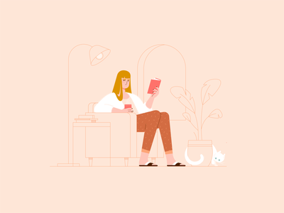 Girl No. 3 chair window plant interior reading books book white cat woman vector portrait illustrator illustration girl drawing design character design character adobe illustrator