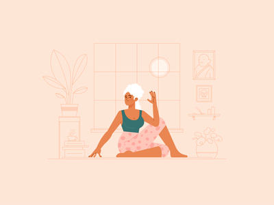 Girl No. 4 exercise interior plants yoga flat woman girl vector portrait illustrator illustration drawing design character design character adobe illustrator