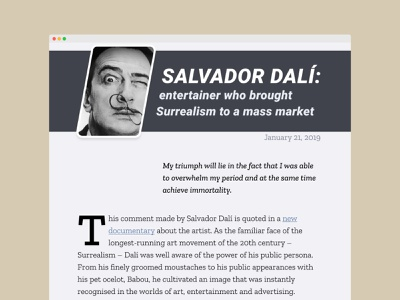 Web article Salvador Dali dailyui colors article design article fonts typography minimal ui uiux design