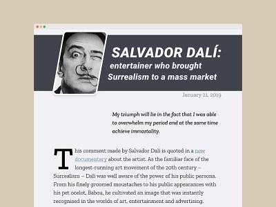 Web article Salvador Dali dailyui colors article design article fonts typography minimal ui uiux design