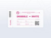 1 Dribbble Invite flight ticket invite dribbble invite illustration ticket design