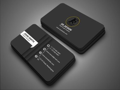 Black color business card