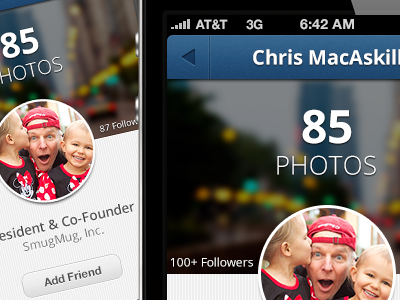 iOS App —Profile View ios app iphone iphone app profile view profile view blue cover photo social social network photo photo sharing