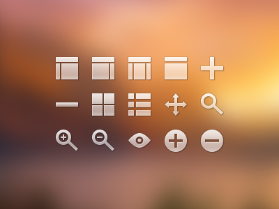 Display Icons icon glyph 32px 32 32px icon 32px glyph layout add remove grid list move magnify zoom in zoom out visible
