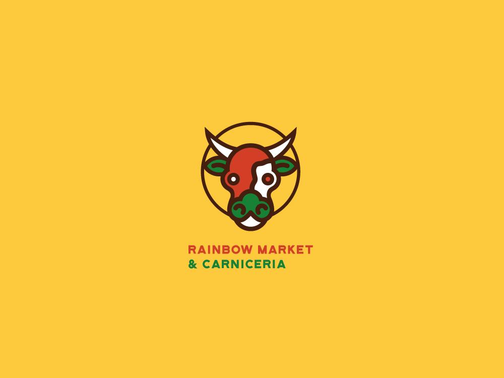 RAINBOW MARKET & CARNICERIA icon typography design vector illustrator illustration logo branding mexico