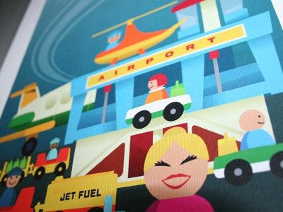 Fisher Price Airport artprint vintage fisher price airport toy playset artprint a3 limited edition vector illustration kids art