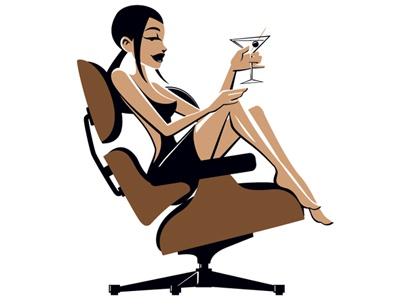 Eames Girl loungechair eames martini pin-up vector illustration furniture mid-century classic