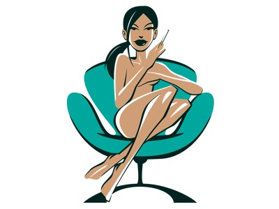Swanchair Girl mid-century furniture classic pin-up swanchair vector illustration
