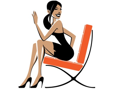 Barcelona Girl barcelona mid-century armchair pin-up