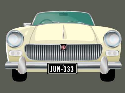 MG midget classic vintage car automobile vector ilustration portrait