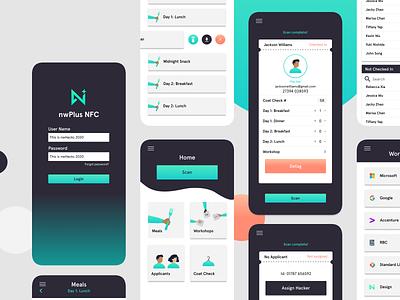 Near-Field Communication App flat native app illustration nwhacks hackathon ubc branding design app ui ux