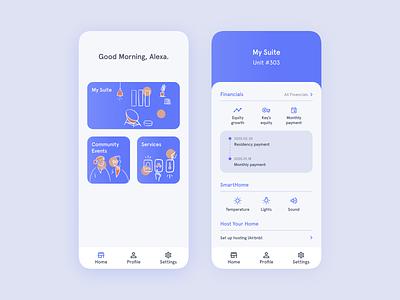 Key Living Mobile Application ownership home procreate vector ux ui community finance living mobile design illustration branding