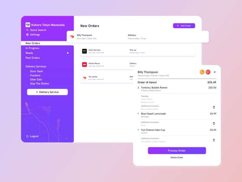 Delivery Management Application ipadpro minimal quarantine covid19 resource food and drink restaurants delivery management management system design vector flat ui ux