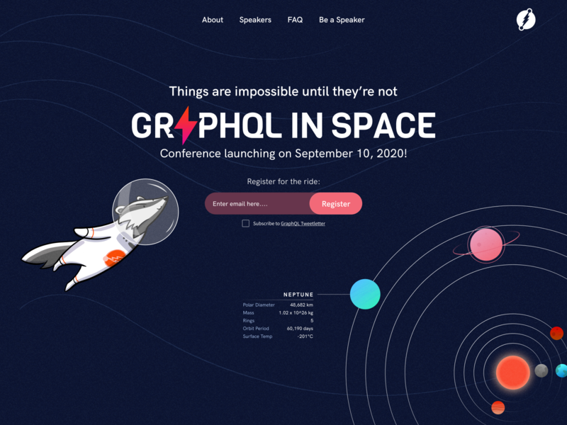 GraphQL In Space Conference userinterface homepage dgraph type layout conference website icon typography branding ui illustration design