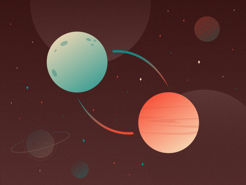 Blog Banner planets space shapes illustrations graphics flat colors palette userinterface ui branding design illustration