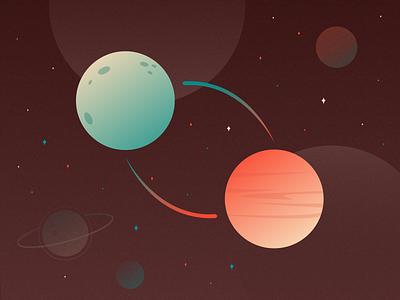 Blog Banner planets space shapes illustrations graphics flat colors palette userinterface ui branding design illustration