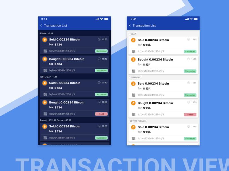 Transaction  List app crypto wallet cryptocurrency crypto list transaction mobile design ux design ui
