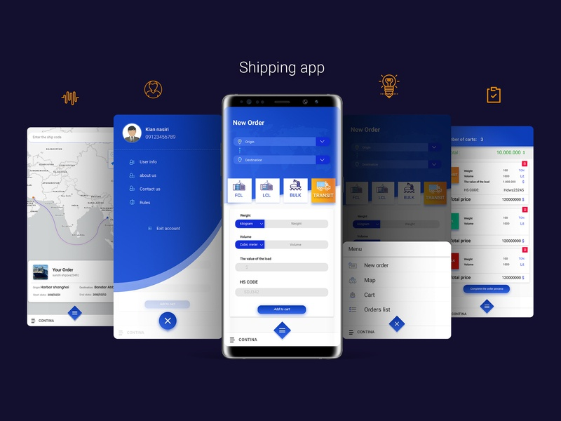 Shipping android app shipping container shipments shipping branding vector register illustration app mobile design design ux ui