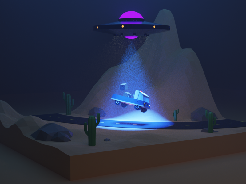 The Unknown design night mysterious cactus ufo truck abduction spaceship space modeling 3d model blender