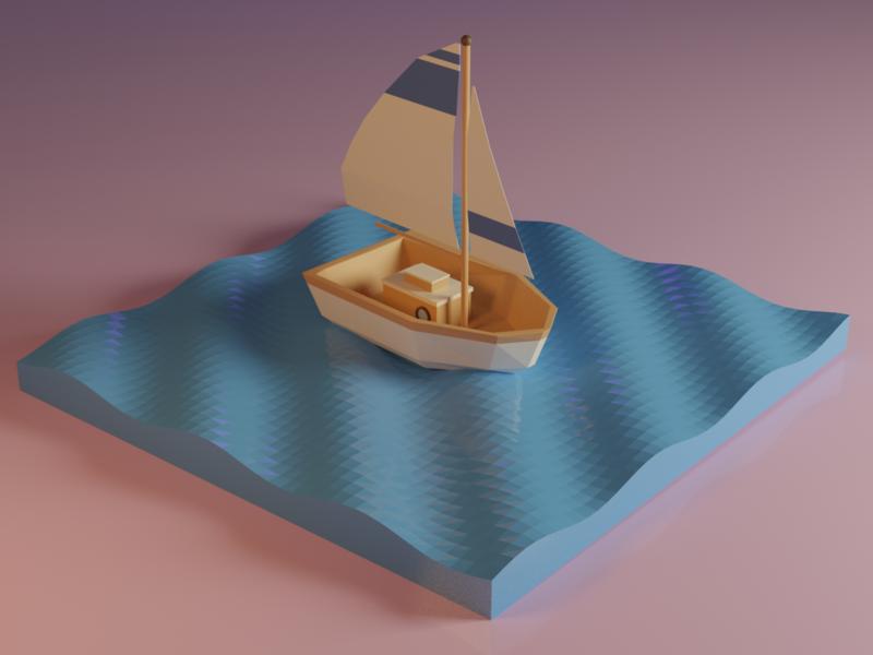 Dream Boat dreamy cute modeling 3d pastel sunset boat design art blender
