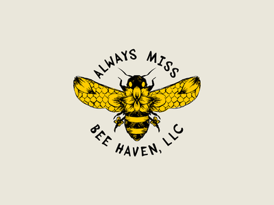 Always Miss Bee Haven Logo branding honey bees bee vector graphic design illustration logo