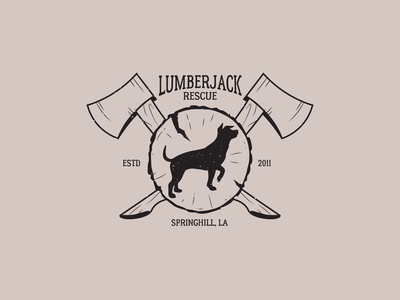 Lumberjack Rescue Logo logo dog logo lumberjack dog rescue dog branding illustration graphic design