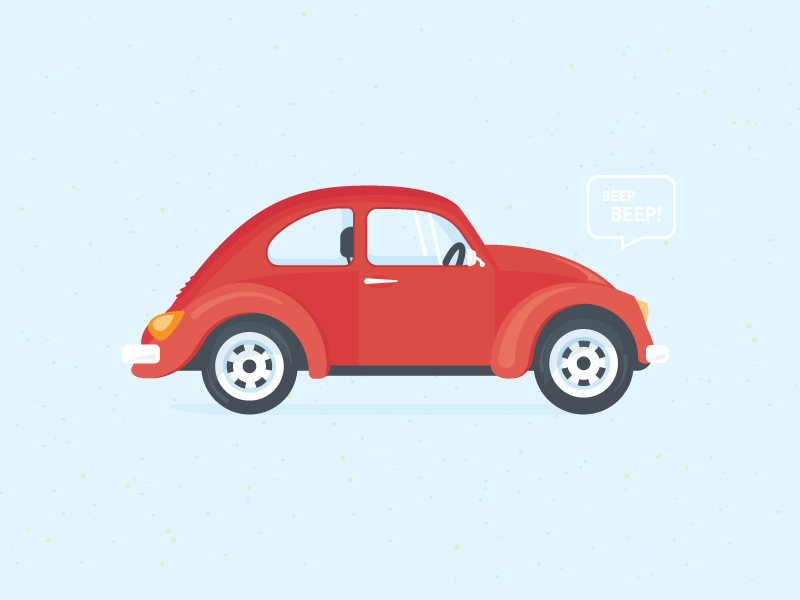 Beep beep volkswagen state empty shopify red flat illustration car