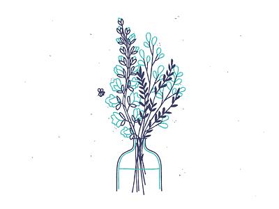 Blooms sketchy line jar bee flowers illustration