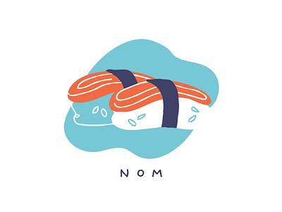 Sushi food line fill illustration fish salmon sushi