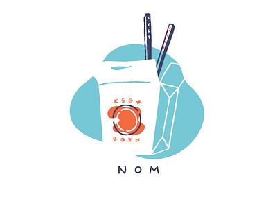Take out chopsticks box fill line illustration