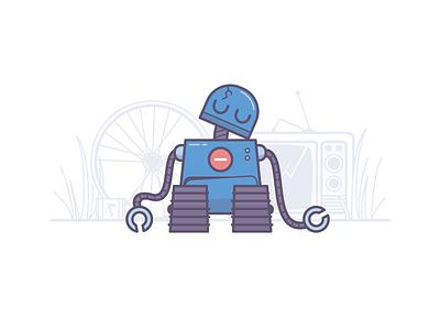 Bot broken illustration junkyard robot