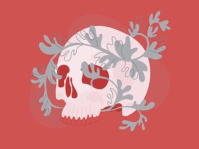 Skull and vines gloop teeth fill line plants vines skull