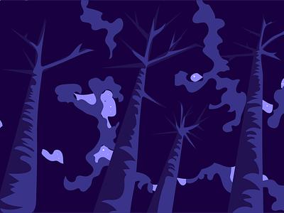 Look up ✨👀 trees stars sky purple fills illustration shopify polaris