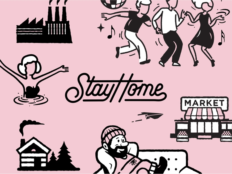 Activity Sheet Preview hand lettering stayhome relax man factory swim home dancing market