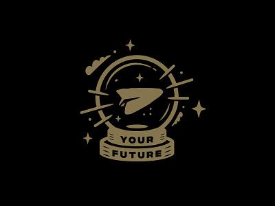 Golden Future magic crystal ball fortune future paper plane