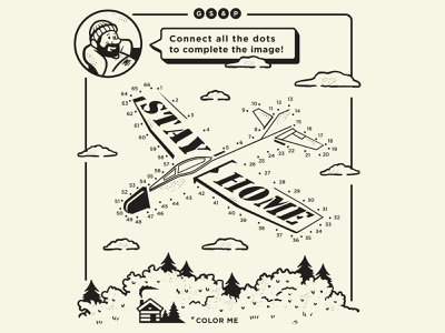 Connect the dots dots activity cabin home design illustration plane airplane